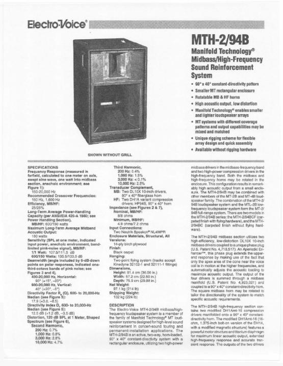 Electro Voice MTH2 specs